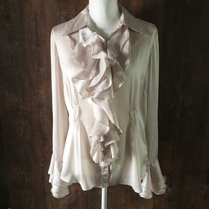 CAbi | Cream Ruffle Button Down Blouse